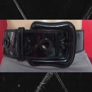 ALDO High Waist Wide BLACK Patent Leather Belt